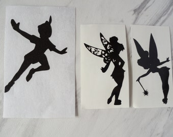 Peter Pan and Tinker Bell Vinyl decals, will work in Fairy Lights, Mason Jar Lights, walls, car window decal, cups, water bottles