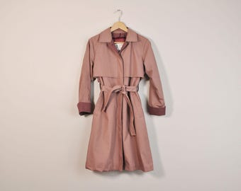 Belted Trench Coat, Vintage 70s London Fog Coat, 1970s Mauve Coat, 70s Midi Coat, 70s Trench Coat, Long Belted Coat, 70s Purple Coat,