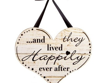 Wall or Door Decor- Heart - And They Lived Happily Ever After - 15 1/2""