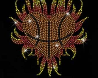 Basketball Love Rhinestone Iron on T Shirt Design                                   3YYN
