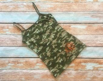 Camouflage Camo Cami Inital Monogramed Army Green