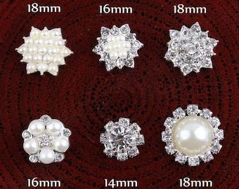 6style Clear Alloy Crystal Flatback Buttons for Baby Girls Hair Accessories/Ornaments Bling Metal Rhinestone Buttons