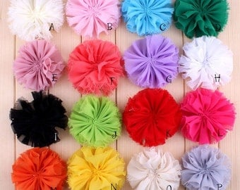 "3"" 16 Colors Classic Chiffon Flower For Baby Girls Hair Accessories Ruffed Satin Shabby Flower For Decoration Hair Clips For Headbands"