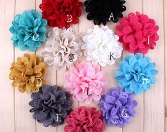 "3.8"" 12 Colors Newborn Chic Fabric Flowers For Hair Accessories Artificial Hollow Out Leaf Flowers For Baby Headbands"