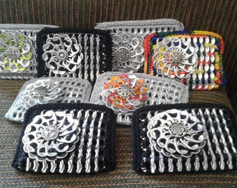Cute Coin Purses with Flower Accents made from Upcycled Soda Tabs