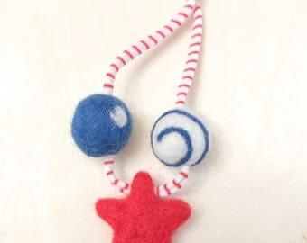 RTS-Lady Liberty Woolie Ball Necklace