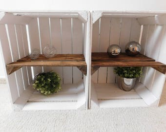 """white wooden boxes with intermediate bottom (flamed) """"Shabby Chic"""""""