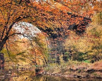 Train Trestle with Glorious Fall Foliage
