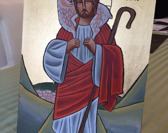 Good Shepherd Coptic Icon 16 x 10 inches
