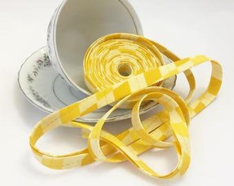 """Yellow Argyle  1/2"""" Double Fold Bias Tape"""