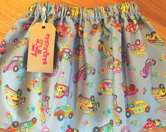 Girls skirt in Cars Bright fabric, Age 18-24 months, different sizes available