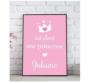 Poster - bedroom - little girl here sleeps a Princess - Princess Crown - paintings Pers'o