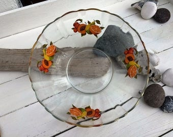 Vintage French glass bowl with fruit motif