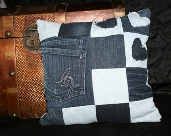 Denim pillow with heart and Pocket, plaid