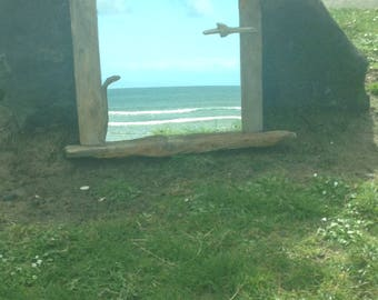 Driftwood mirror.  Glenariffe Beach. Glens of Antrim.  bespoke and unique. handcrafted to a high quality.