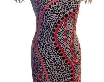 Red & Pink Crocheted Dress