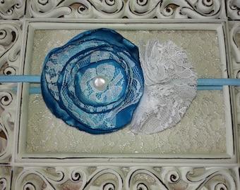 Blue satin flower headband/white lace girl headband