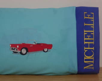 Travel Pillowcase. Embroidered Pillowcase. Personalized Pillowcase. Toddler Pillowcase. Classic Cars Embroidery. Thunderbird