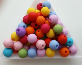 Mixed 100 Beads 8mm -- Mixed Matte Loose Round Ball Acrylic Spacer Decorative Beads