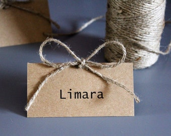 Rustic Kraft Place Cards. Recycled Kraft Card with Organic Jute Twine. Personalised or Blank. Packs of 10.
