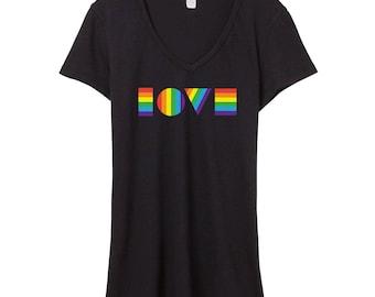 LGBTQ LOVE Shirt | Women's V-Neck | Gay Pride Shirt | Pride Shirt Women | Gay Pride V-Neck | Pride V Neck | LGBT V Neck | Pride March Shirt