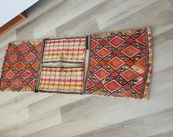 Turkish kilim bag . Authantic vintage Heybe.  110x40