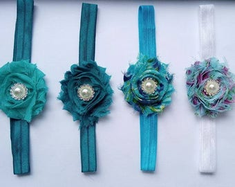 Newborn headband. Baby headband. Baby girl headband. Toddler headband. Shabby flower headband. Vintage headband. Turquoise, Blue headband