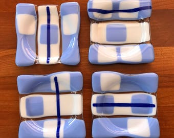 Set of 4 fused glass coasters