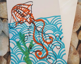Hand Pulled Screen-print Jellyfish Greetings Card