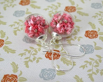 Real flower earrings Pink flower glass globe drop earrings Terrarium Botanical Nature earring Real flower jewellery gift for her
