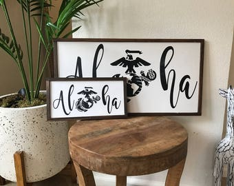 Aloha marine/aloha/military/hawaii/custom/rustic wood sign