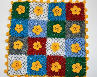 crochet patchwork cushion cover