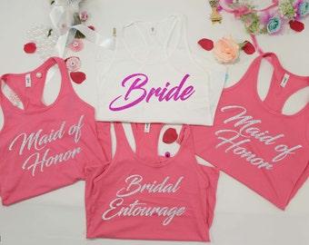Bride tank tops .Bridesmaids tank tops. Bachelorette Party Shirt. Bridal Tanks. Wedding Tanks. Bridal Party Tanks. Bachelorette Tanks.