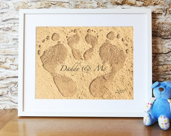 PRINTABLE Footprints in the sand with Daddy print