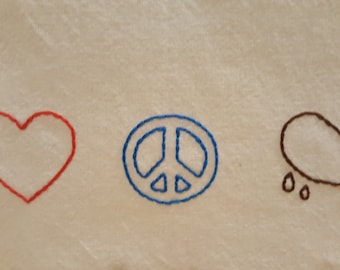 "Retro Kitchen Towel- Hand Embroidered ""Love, Peace & Chicken Grease"""