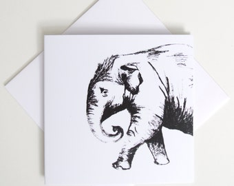 Greeting Card - Mini / Elephant Sketch