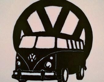 VW Campervan metal wall art
