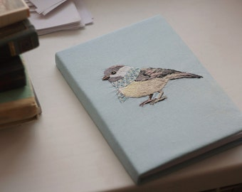 Hand embroidery notepad bird