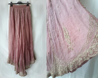 Vintage 1970s silk heavily embellished sari skirt size XS