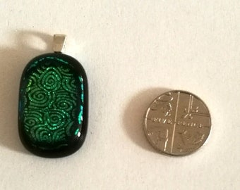 Green Patterned Dichroic Fused Glass Pendant