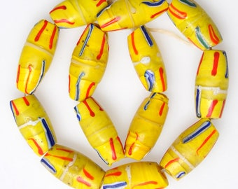 13 Matched Venetian Yellow Trade Beads - Vintage African Trade Beads - #8068