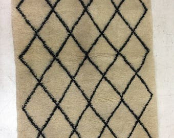 "Small Handwoven beni ourain rug 60"" x 39"" its a giveaway price"