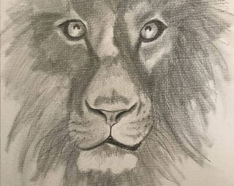 Lion - Graphite Pencil Drawing - Original - Fine Art - Unique - Wall Decor 9x12