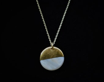 Large Gold Dipped Circle Necklace