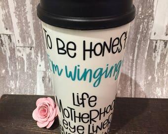 To be honest Travel Mug/Glittered Coffee Mug