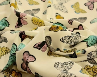 Butterfly Print Cream Polyester