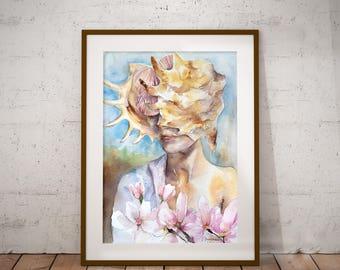 Original Watercolor Painting Woman with Magnolias Rapana