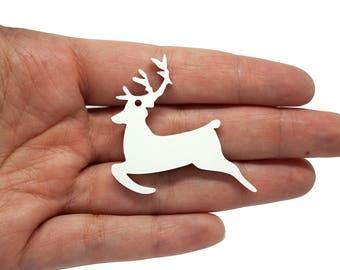 Reindeer x5, Jewellery supplies reindeer pendant, Deer charms, Reindeer bijoux, Reindeer necklace, Deer laser, Deer wood plexiglas - SET 5PZ