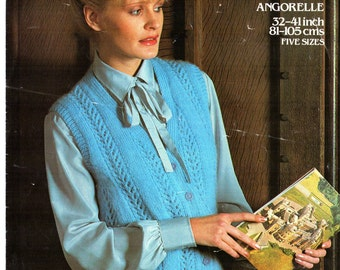 ORIGINAL 70s Womens Waistcoat Knitting Pattern, Emu 3538, Ladies knitting patterns, Vintage knitting, lace knitting, sleeveless cardigan