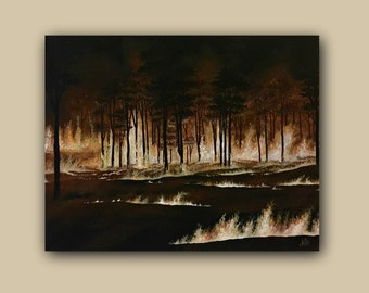Forest Fire Landscape Acrylic Painting